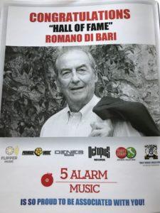 Ringraziamenti ufficiali di 5 Alarm Music per Romano Di Bari (FlipperMusic) al ricevimento del Mark Awards 2017