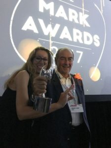 Romano Di Bari (FlipperMusic) e Anna Andrych (Musique & Music) al Mark Awards 2017, Hollywood